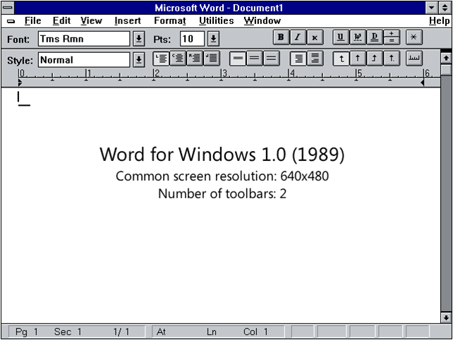 Evolución del Interface de MS Word